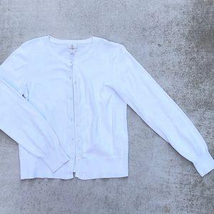 Lands' End Kids Girls white cardigan sweater